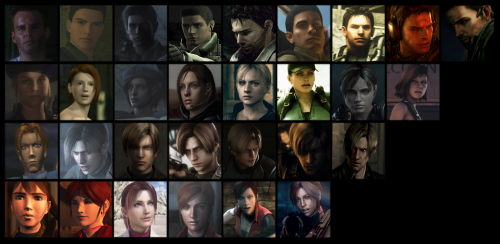 The evolution of the main RE protagonists. From top to bottom: Chris Redfield, Jill Valentine, Leon Kennedy, and Claire Redfield.