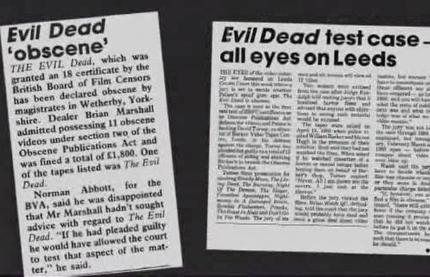 Real newspaper clippings from a British newspaper on the nasty that is Evil Dead.